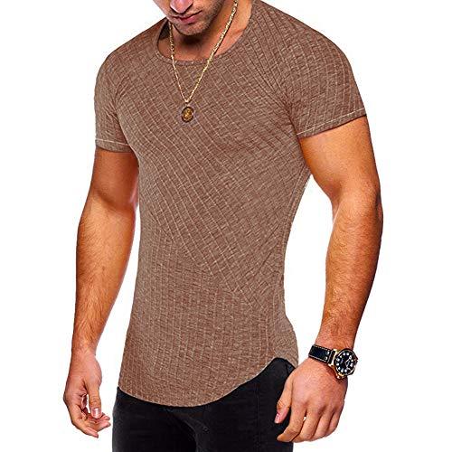 Striped Shirts Men Short Sleeve Stretch Cotton Garment Curved Hem Slim Tops CoffeeS9 XL