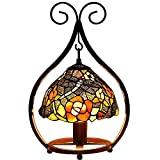 Bieye L10527 16 inch Dragonfly Flower Tiffany Style Stained Glass Hanging Shade Table Lamp with Cast Iron Base (Multi-Colored B)