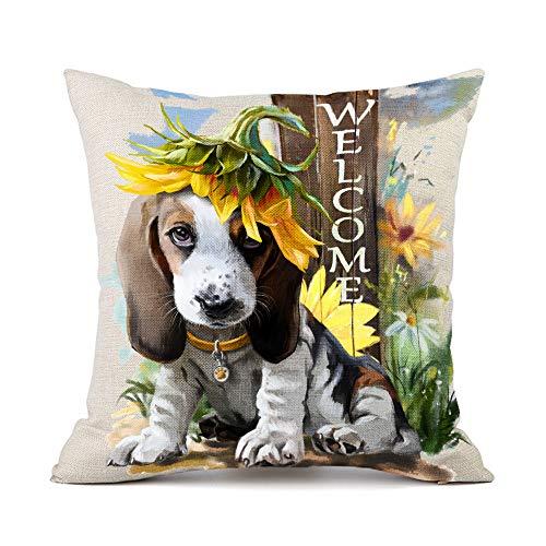 Moyun Basset Hound Dog Sunflowers Pattern Cotton Linen Throw Pillow Case Cushion Covers Car Sofa Home Decor 45 x 45 cm
