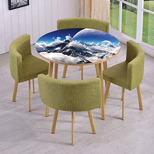 iPrint Round Table/Wall/Floor Decal Strikers/Removable/Celestial View of Snow Capped Mountains and A Transparent Alien Planet Decorative/for Living Room/Kitchens/Office Decoration (Fireplace Celestial Screen)
