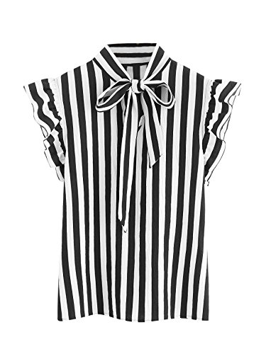 - Floerns Women's Sleeveless Bow Tie Striped Summer Chiffon Blouse Top Black and White-1 L