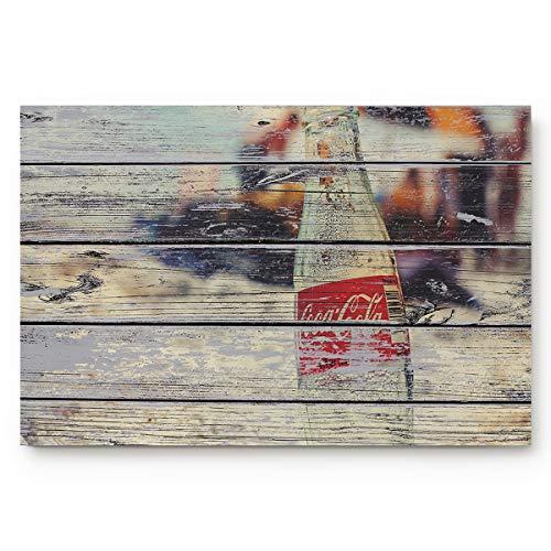 Doormat Rug Mat Creative Design Coke Bottle on Beach Wood Grain Non-Slip Backing Absorbent Entry Way Rug for Home Decor,(18