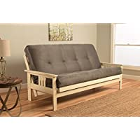 Kodiak Furniture KFMOAWSGRYLF5MD3 Monterey Futon Set with Antique White Finish, Full, Suede Gray