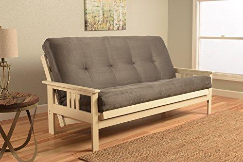 (Kodiak Furniture KFMOAWSGRYLF5MD3 Monterey Futon Set with Antique White Finish, Full, Suede Gray)