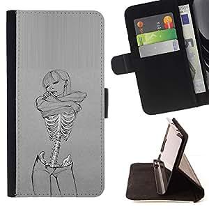 Momo Phone Case / Flip Funda de Cuero Case Cover - Cráneo Sexy Girl Gris Mujer Esqueleto - Huawei Ascend P8 (Not for P8 Lite)
