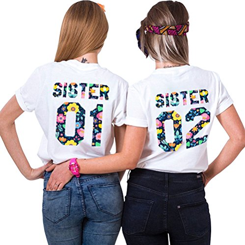 Shirt Coppia Nero Bianco per Donna Amiche Bianco 100 T 3 Migliori Best Cotone Magliette Manica Estate Friend Bianco Corta Stampa 3 Shirt Sister q8TEag