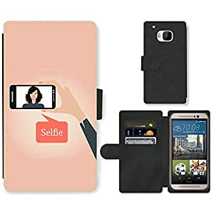 Hot Style Cell Phone Card Slot PU Leather Wallet Case // M99999663 Selfie Vector Design // HTC One M9