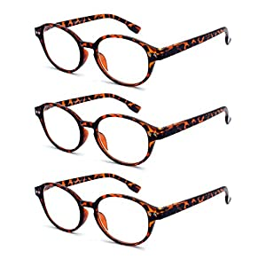 EYE-ZOOM 3 Pairs Classic Oval Style Reading Glasses with Spring Hinge Comfort Fit for Men and Women Choose Your Magnification, Brown Tortoise, +2.25 Strength
