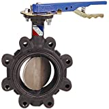 NIBCO LD-2000-3 Series Ductile Iron Butterfly Valve with EPDM Liner and Aluminum Bronze Disc, Lever-Lock Handle, Lug, 6""