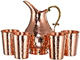 CopperBull Thickest Heaviest Hammered 1 mm Copper Tumbler Cup Mug Set with Pitcher for Water Moscow Mule Ayurvedic Healing (Pitcher&4Tumblers)