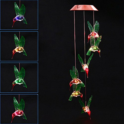 MYSWEETY LED Solar Mobile Wind Chime, Color-Changing Solar Powered LED Hanging Lamp Waterproof Six Hummingbird Wind Chimes for Outdoor Indoor Home yard Garden Decoration