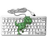Green Tyrannosaurus Rex Mini Keyboard Wired Thin Light 78 Keys USB For Pc Computer Laptop