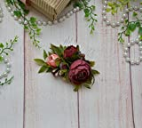 Burgundy Blush floral comb Flower Wedding accessories for bride Floral headpiece for bridesmaid
