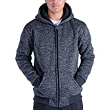 Gary Com Heavyweight Hoodies for Men, 1.8 lbs Sherpa Lined Fleece Full Zip Plus Size Sweatshirt Jackets Outwear (Dark Blue, XL)