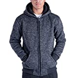 Gary Com Marled Heavyweight Sherpa Lined Fleece Hoodies for Men Full-Zip Plus Size 5XL Men's Sweatshirts Jackets (M, Dark Blue)