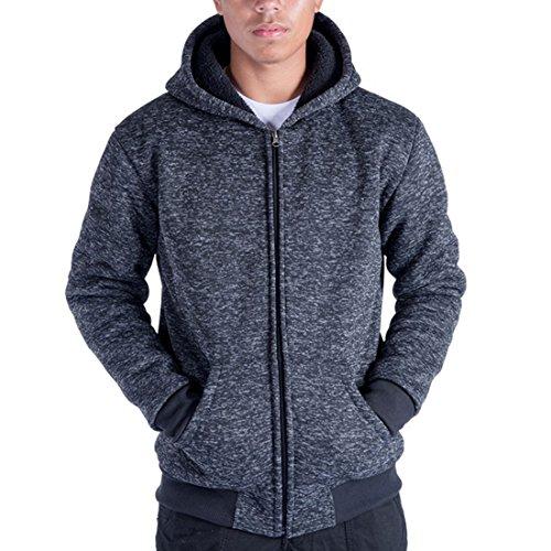 Gary Com Heavyweight 1.8 LB Full-Zip Sherpa Lined Fleece Hoodies For Men Plus Sizes S - 5XL Men's Solid Jackets (S, Dark Blue)
