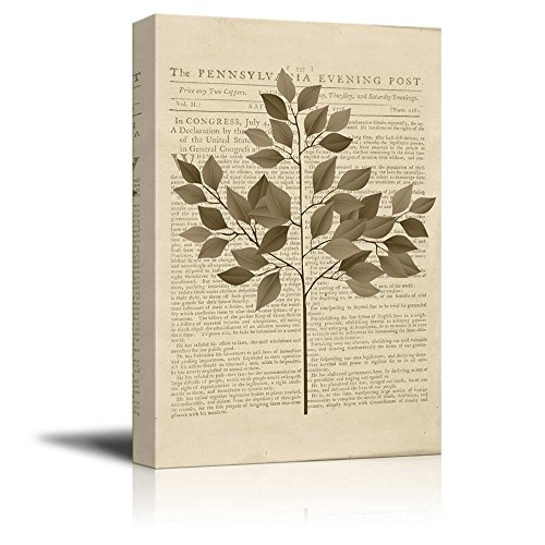 Wll Art Branch with Leaves on Vintage Newspaper Background and Stretched