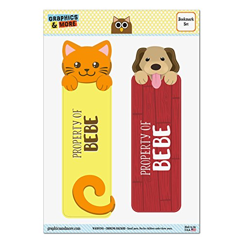 set-of-2-glossy-laminated-cat-and-dog-bookmarks-names-female-ba-be-bebe