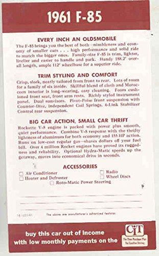 (1961 Oldsmobile F85 Window Sticker)