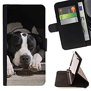 KingStore / Leather Etui en cuir / Samsung Galaxy S3 MINI 8190 / Boston Terrier Perro Negro Blanco