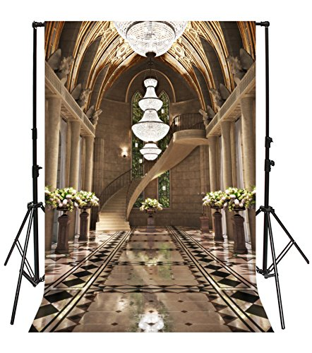 Leyiyi 6x8ft Photography Backgroud Wedding Ceremony Backdrop Spiral  Staircase Cathedral Hall Arch Doorway Crystal Chandeliers French