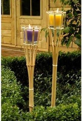 Alldeco - Juego de 2 antorchas de jardín con velas antimosquitos (bambú): Amazon.es: Hogar