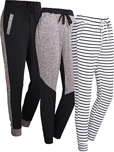 Ds Jogger - Syhood 3 Pieces Women's Drawstring Pants Yoga Sweat Pants Running Jogger Pants with Pockets for Women (Color D, S)