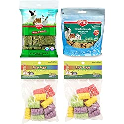 Small Animal Variety Bundle: (1) Kaytee Baked Apple Timothy Biscuits, (1) Kaytee Timothy Cubes, (2) Ware Manufacturing Small Rice Pops