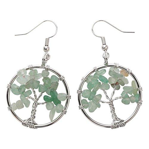 YACQ Natural Gemstone Tree Dangle Drop Earrings Handcrafted Jewelry for Women (aventurine)