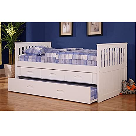 American Furniture Classics Twin Rake Bed With Trundle U0026 3 Drawers, Normal,  White
