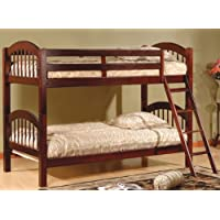 Contemporary Twin Over Twin Cherry Finish Wood Bunk Bed.