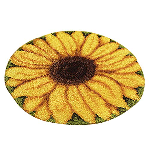 SM SunniMix DIY Latch Hook Rug Patterns Florals Dogs Football Carpet Latch Hooking Kits - Sunflower