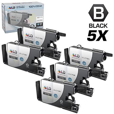 LD © compatible with Brother LC75 Pack of 5 High Yield Ink Cartridges: 5 LC75BK Black compatible with Brother MFC-J280W, MFC-J425W, MFC-J430W, MFC-J435W, MFC-J5910DW, MFC-J625DW, MFC-J6510DW, MFC-J6710DW, MFC-J6910DW, MFC-J825DW and MFC-J835DW (Brother Printer Ink Lc 75)