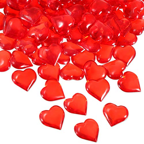 Tatuo 160 Pieces Acrylic Heart Decoration Valentine's Day Heart Ornaments for Vase Fillers and Table Scatter (Red) for $<!--$10.99-->