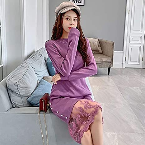 LFMYQ Vestido suéter Mujer Moda Mujer Vestidos Punto Elegante Mujer Suéter Encaje Vestido Tejer Algodón Invierno Vestidos Mujer Talla única Fucsia: Amazon.es: Deportes y aire libre