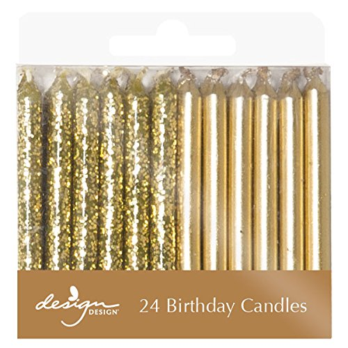 Design Design Metallic Birthday Candles, Gold