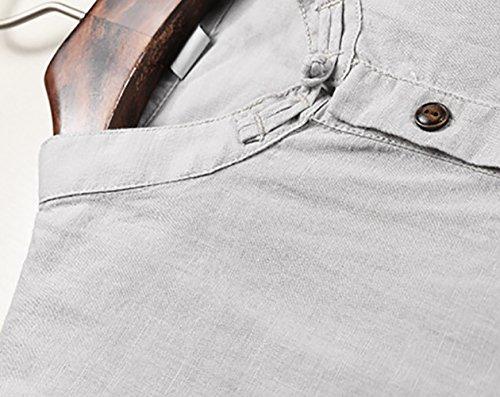 Icegrey Camicia Uomo Camicie di Lino a Maniche Corte Henley T-Shirt Top Pullover Estive Camicia Grigio 42