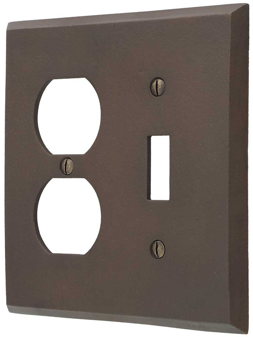 Distressed Bronze Toggle/Duplex Combination Switch Plate