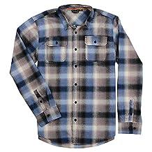 Burnside Men's Shutdown Plaid Flannel Button Down Long Sleeve Shirt (Blue, Small)