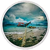 Pixels Round Beach Towel With Tassels featuring ''Time To Rest'' by Stelios Kleanthous