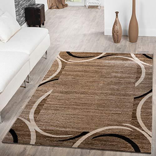 T&T Design Alfombra De Salon Economica con Ribete Motivo Semicirculos Jaspeada Marron Beige, Große:160x220 cm