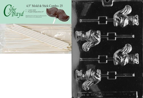 Cybrtrayd 45St25-A091 Squirrel Lolly Animal Chocolate Candy Mold with 25 4.5-Inch Lollipop Sticks