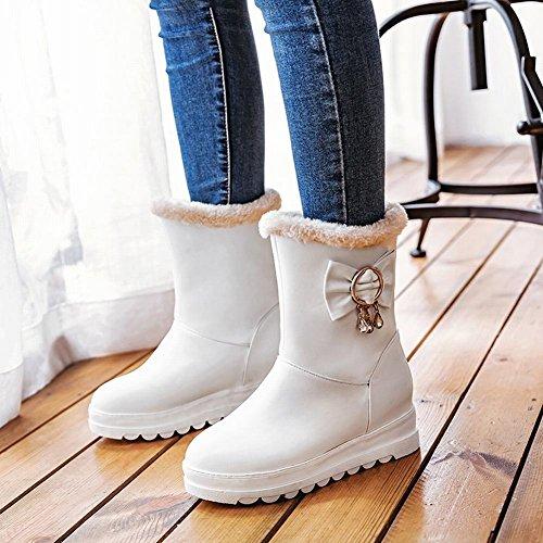 Charm Foot Womens Sweet Bows Platform Hidden Heel High Top Winter Snow Boots White WbPzhXvOP