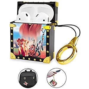 DISNEY COLLECTION Airpods 2&1 animacion Disney hd Lion King Movie The Luxury Trunk Charging Cover Protective Case with Airpod Accessories Anti-Lost Keychain