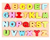 LieberpaarChildren 's Wood Puzzle Digital Alphabet Cognitive Handrail Board Early Education Puzzle Toys Baby Imposition (Blue)