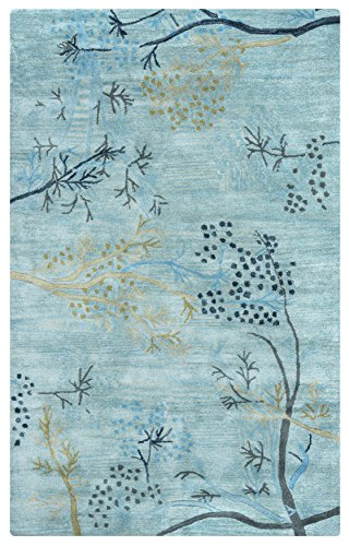 Rizzy Rugs CF-0815 5-Foot-by-8-Foot Craft Area Rug, Floral Light (Blue Floral Vines Rectangle Rug)