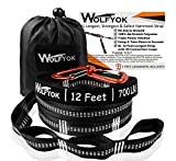XL Hammock Tree Straps - Wolfyok Hammock Straps Set of 2000+ LBS with 40 Loops, Total 24 Ft Extra Long, Non-Stretch Suspension Strap System for Camping Hammock, Includes 2 Aluminum Carabiner Hooks