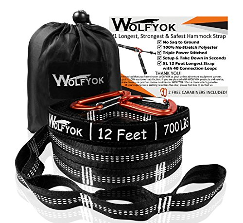 Wolfyok XL Hammock Tree Straps Hammock Straps Set of 2000+ LBS with 40 Loops, Total 24 Ft Extra Long, Non-Stretch Suspension Strap System for Camping Hammock, Includes 2 Aluminum Carabiner Hooks
