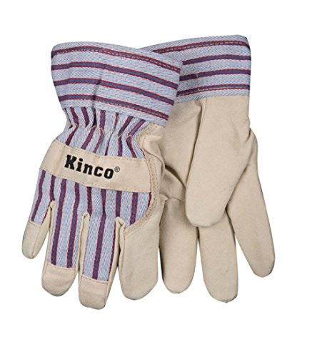 Kinco 1927-C-1 Soft & Durable Ultra Suede Palm, OttoTM Striped Fabric Back & Cuff, Safety Cuff, Thermal Fleece Lining, Size: C (Child's Ages 3-6)