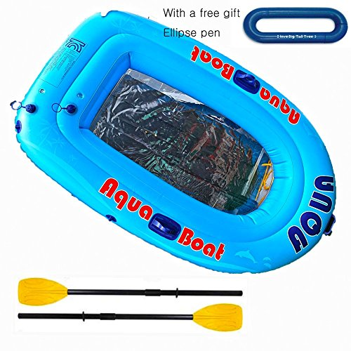 (Under the Sea Transparent bottom and Inflatable Air Boat Set with French Oars for 2 person,)